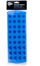 NEW CHEF AID ASSORTED SHAPES ICE CUBE TRAY 36x ROUND,STAR,HEART SHAPES BLUE
