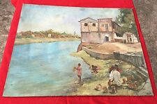 VINTAGE BEAUTIFUL PAINTING OF VILLAGE TRIBAL VIEW NEAR RIVER ON CANVAS BOARD