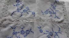 VINTAGE WHITE LINEN TABLECLOTH ~blue embroidery white lace edge - with flaws
