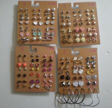 Lot of 84 Pairs of Stud and Hoop Earrings Hypo Allergenic New - lot C