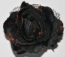 "4"" Gothic Black Orange Sparkle Rose Artificial Flower Hair Clip Pinup Halloween"