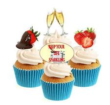 Novedad stawberries & Burbujas Mix 12 Comestibles Stand Up Oblea papel Cake Toppers