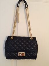Michael Kors  Hannah Shoulder Flap Crossbody Black Quilted Leather NWT $298.00