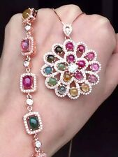 FairyTale FerrisWheel Multicolor Tourmaline set, RoseGold Plated Sterling Silver