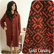 Vintage 70s Orange Grey Tapestry Mod Geo Wool Coat Jacket M L 12 14 16 42