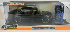 1:24 JADA TOYS *JUST TRUCKS w/EXTRA WHEELS* Black 2002 Cadillac Escalade NIB!
