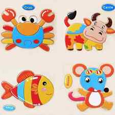1 Set Children DIY Wooden Animal Jigsaw Board Puzzles Educational Kids Baby Toys