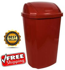 Hefty Swing Lid 13.5 Gallon Trash Can Red Waste Basket Garbage Bin Kitchen