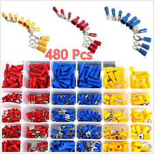 480 Pcs 3-Color Spade Insulated Autos Electrical Wire Terminal Connectors & Case