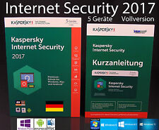 Kaspersky Internet Security 2017 versión completa 5 dispositivos box + manual PDF OVP nuevo