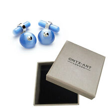 Mens Executive Cufflinks Chain Link Baby Blue Cats Eye By Onyx Art