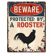PP2113 BEWARE PROTECTED BY A ROOSTER Rustic Plate Chic Sign Home Door Decor