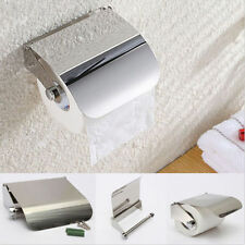Stainless Steel Bathroom Toilet Paper Holder Roll Tissue Box Wall Mounted NEW uk