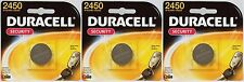 3 DURACELL 2450 Button Coin Battery Lithium 3 volt DL2450 CR2450 Security Med.