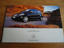 MERCEDES BENZ A CLASS PRICE LIST SALES BROCHURE MAY 2007