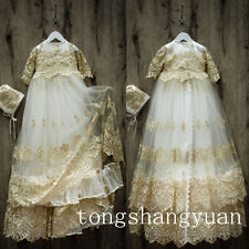 Luxury Champagne Beading Infant Baptism Gowns Lace Applique Christening Dresses