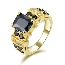 Delicate Size 10 Women's Luxury Black Topaz 10KT Gold Filled Anniversary Ring