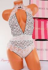 VS Victoria's Secret High Neck Lace Mesh Cut-Out Unlined Teddy Thong XS White
