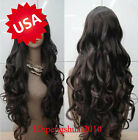 Fashion Heat Resistant Long Dark Brown Curly Cosplay Women's Full Hair Wig/Wigs