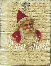 CHRISTMAS SANTA CLAUS*FRENCH SCRIPT COLLAGE*OLD WORLD*5X7 INCHES*FABRIC BLOCK