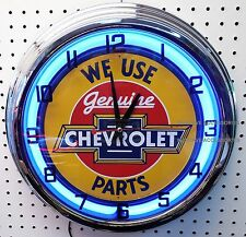 "17"" We Use Genuine CHEVROLET Parts Sign Single Neon Clock Chevelle Camaro Chevy"
