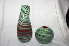 2 Art Glass Vases Made For Dept 56 Marble  w/ Swirls of Colors