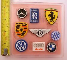 SET OF 9 CAR LOGOS BADGES SILICONE MOULDS FOR CAKE TOPPERS, CHOCOLATE, CLAY ETC