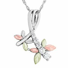 Black Hills Gold dragonfly pendant zirconia cz silver womens 18 inch necklace
