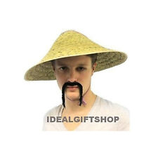 CHINESE COOLIE HAT & MOUSTACHE FANCY DRESS ORIENTAL NEW YEAR ASIAN COOLI SET