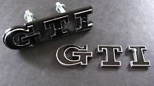 BLACK GTI Grill & Boot Badge Set Golf Polo MK2 MK3 MK5 MK6 VW