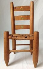 Vtg Ladder Back Doll Chair Wooden Woven Seat Pencil Legs Primitive Display 12""