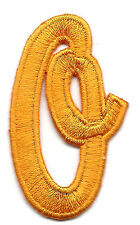 "SCRIPT LETTERS - Golden Yellow Script  2"" Letter ""O"" - Iron On Embroidered Patch"