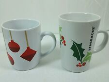 Starbucks Holiday Christmas Mugs Coffee Cups Holly Ornaments Lot of 2