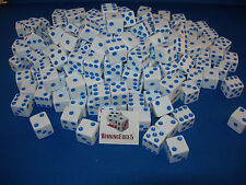 WHITE DICE w/ BLUE PIPS 16mm (200 PACK) BUNCO PARTY FREE SHIPPING