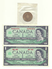 2 x 1967 CANADA CENTENNIAL ONE DOLLAR BANK NOTES and 1967 CONFEDERATION COIN UNC
