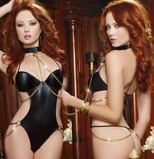Sexy PVC Wet Look Teddy With Collar Chains Lingerie Night Party Wear, Size S-M