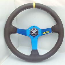 350mm Dia Leather Deep Dish Steering Wheel SPC Drifting MOMO Race OMP Blue S