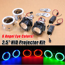 "2.5"" Bi-Xenon Hi/Lo HID Projector Kit Conversion Lens Angel Eye Halo CCFL New"