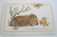 Unused Vtg Christmas Post Card Cute Chipmunk Giving Gift to Bear in Snowy Scene