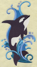 Large Embroidered Zippered Tote - Orca Spray H3533