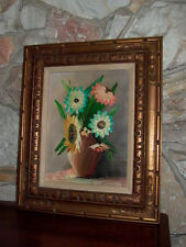 Framed Floral Flowers Vase Oil on Canvas Painting Signed Thal