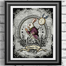 White Rabbit Alice in Wonderland dictionary book page print Poster Tattoo art