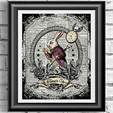 Conejo Blanco Alice In Wonderland Diccionario Libro página de impresión de carteles de Arte del tatuaje