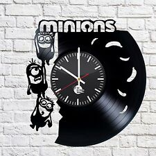 Minions Handmade vinyl record modern vintage unique decorative wall clock
