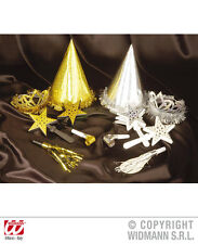 12 Piece New Year's Eve Party Set Hat, Crown,Notelets, Air trunk gold silver