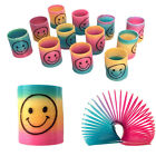 12pcs Kids Classic Rainbow Slinky Smiley Face Springs Party Bag Fillers Toy Gift