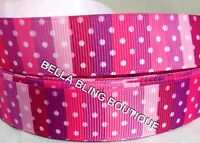 "1 METRE PINK STRIP POLKA DOT GROSGRAIN RIBBON 22MM 7/8"" BOW CAKE CARD BIRTHDAY"