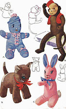 Vintage Stuffed Toy PATTERN 1443 Sock Monkey Doll Cat Kitten Bunny Rabbit 40s