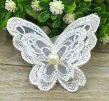 FD3766 Pearl Lace Butterfly DIY Patch Embroidery Home Collar Dress Patch 2PCs