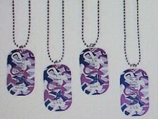 12 Purple AWARENESS RIBBON CAMOUFLAGED Dog Tag NECKLACES cancer alzheimer FREESH
